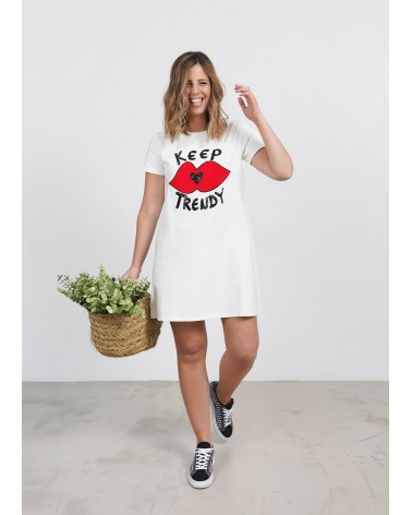 Vestido cuello redondo Keep Lovers Beige