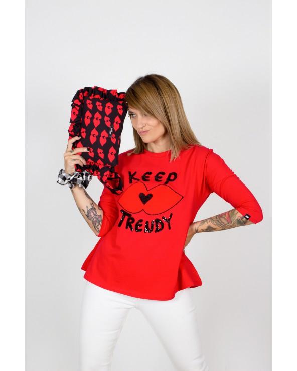 Camiseta Trapecio Keep Lovers Roja